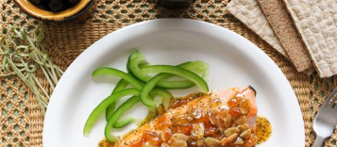 Grilled trout with sour orange jam sauce