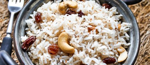 Basmati rice with coconut and cashews