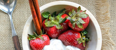 Strawberries in infused balsamic vinegar with spiced yogurt
