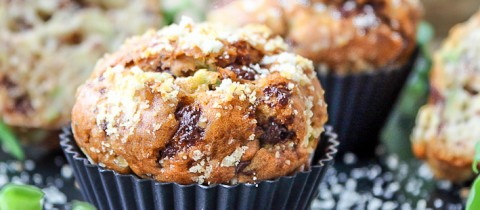 Avocado, chocolate & almond muffins