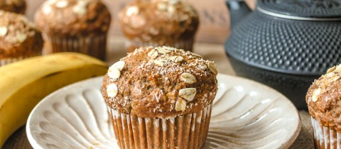 Banana & coconut muffins (with a cocoa powder touch)