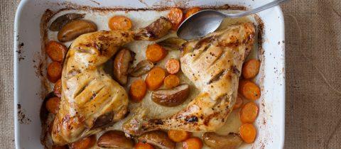 Pollo glaseado con sirope de arce